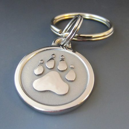 Large Stainless Steel Paw Engraved Pet Keychain