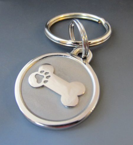 small stainless steel bone personalized dog keychain