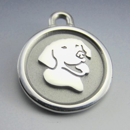 medium stainless steel smiling lab id tag