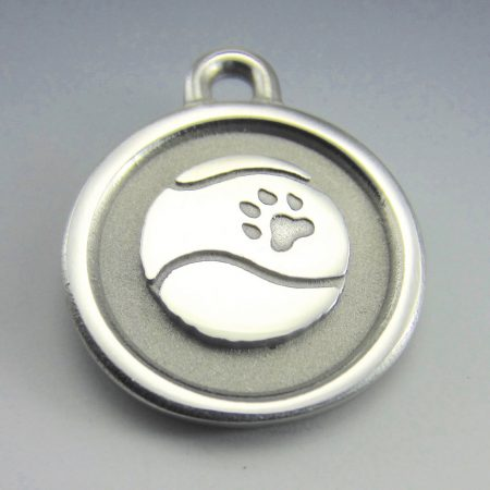large tennis ball stainless steel dog id tag