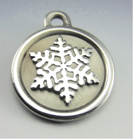 stainless steel snowflake quality dog id tag