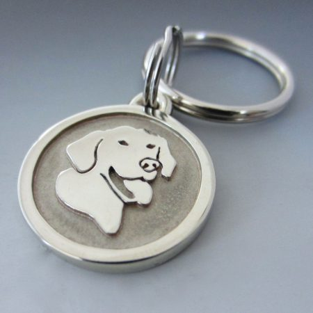 Small Stainless Steel Smiling Lab Customized Pet Keychain