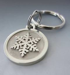 Large Stainless Steel Snowflake Engraved Keychain